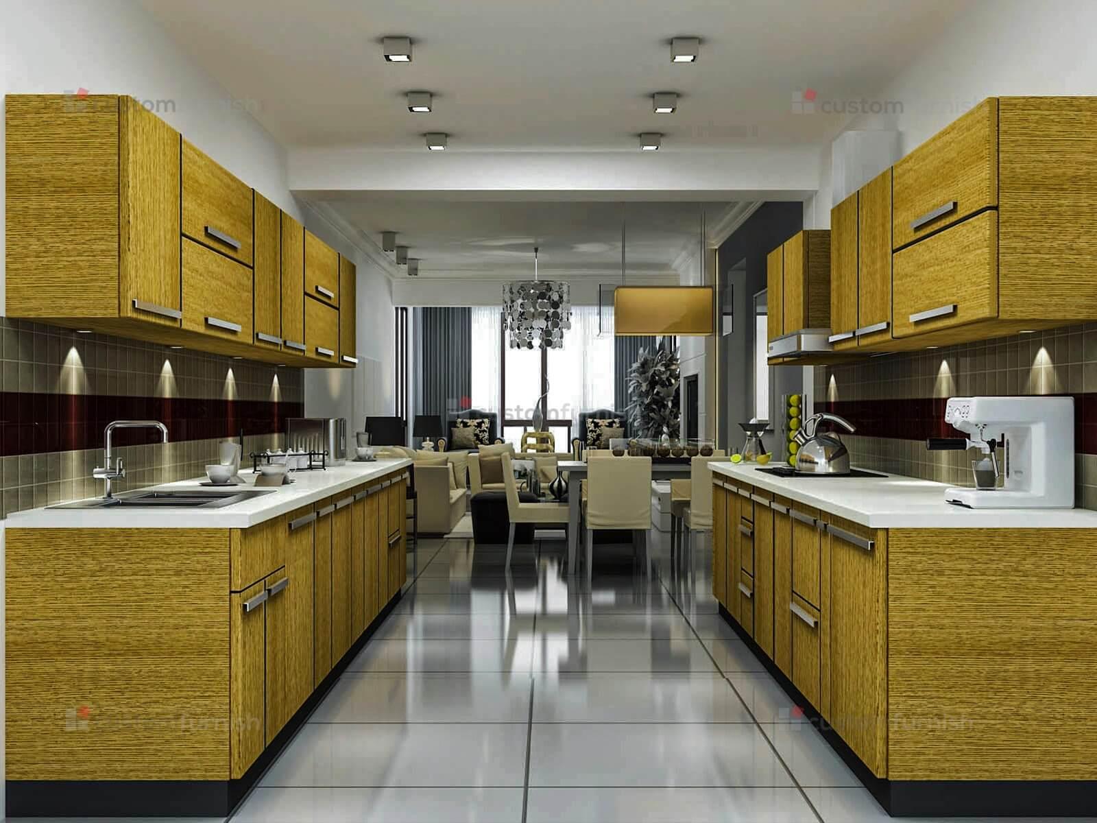parallel kitchen dyhome. Black Bedroom Furniture Sets. Home Design Ideas